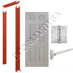 Knock Down Frame & 6 Panel Hollow Metal Door Rim Exit Device Unit