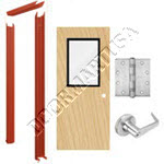 Knock Down Frame & Solid Core Economy Birch Wood Door with Vision Lite Cylindrical Unit