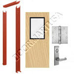 Knock Down Frame & Solid Core Commercial Birch Wood Door with Vision Lite Mortise Unit