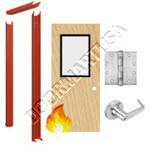 Knock Down Frame & Solid Core Economy Birch Wood Door with Vision Lite Cylindrical Unit - Fire Rated