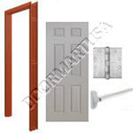 Welded Frame & 6 Panel Hollow Metal Door Rim Exit Device Unit