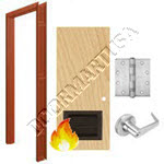 Welded Frame & Solid Core Architectural Birch Wood Door with Louver Cylindrical Unit - Fire Rated