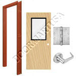 Welded Frame & Solid Core Economy Birch Wood Door with Vision Lite Cylindrical Unit