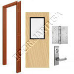 Welded Frame & Solid Core Commercial Birch Wood Door with Vision Lite Mortise Unit