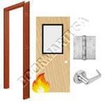 Welded Frame & Solid Core Economy Birch Wood Door with Vision Lite Cylindrical Unit - Fire Rated